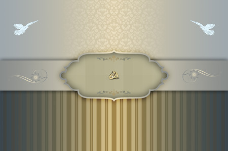 gold rings: Decorative vintage background with frame,gold rings,white doves and old-fashioned floral ornament. Template of wedding invitation card. Stock Photo