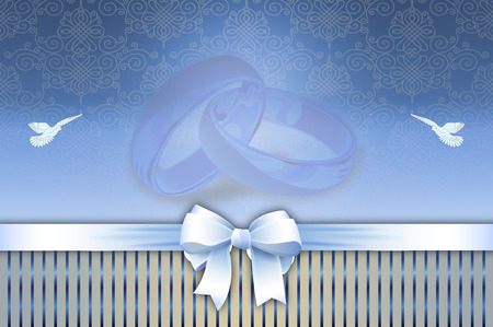 white ribbon: Wedding invitation card with white ribbon and bow