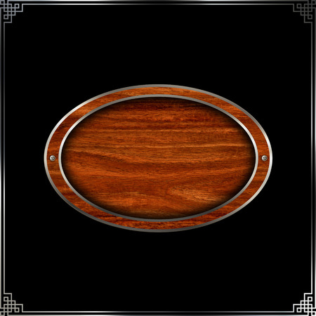 black metallic background: Wooden plate with metallic border and screws for the design. Isolated on black background. Stock Photo