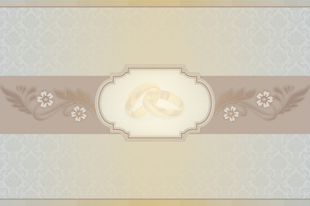symol: Decorative background with floral patterns,gold rings and frame for the text. Elegant background for the design wedding invitation card. Stock Photo