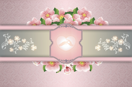 symol: Decorative background with floral patterns,wedding symbol and frame for the text. Elegant background for the design wedding invitation card.