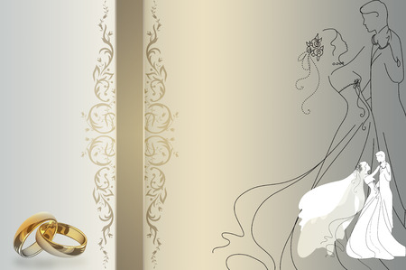 WEDDING DAY: Wedding background with decorative elements and gold rings.