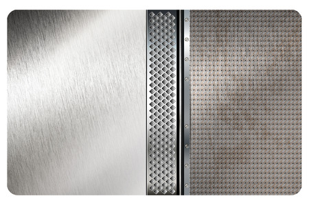 metal mesh: Abstract brushed metal background with metal mesh and screws. Stock Photo
