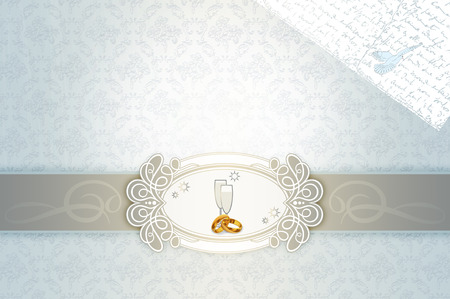 gold rings: Template of wedding invitation with decorative patterns,gold rings and frame for the design. Stock Photo