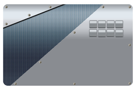 metal mesh: Metal background with metal mesh and screws.