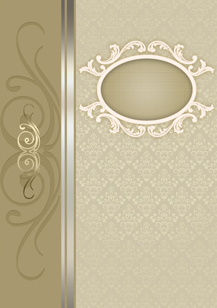 coverbook: Vintage background with old-fashioned patterns and decorative frame for the design.