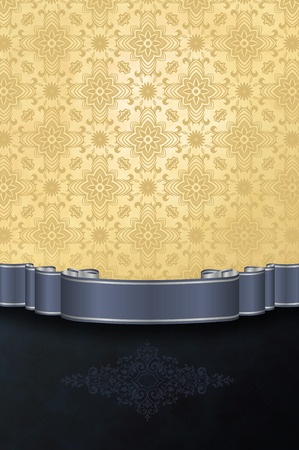 silver ribbon: Vintage grunge background with patterns and silver ribbon for the design.