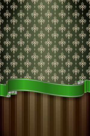 green ribbon: Decorative vintage background with green ribbon and old-fashioned ornament.