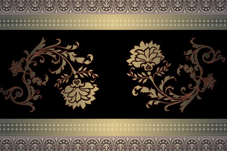 coverbook: Vintage background with decorative ornamental borders and flowers. Stock Photo