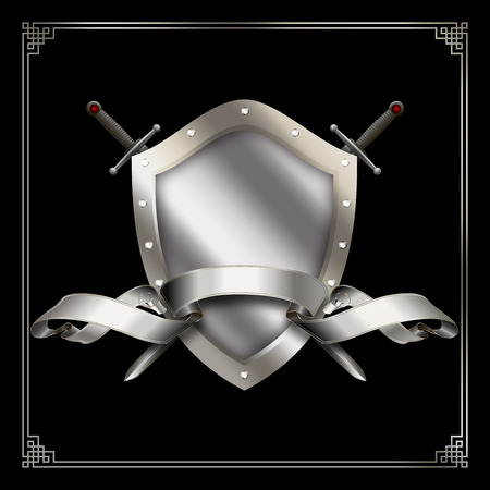 Medieval shield with silver ribbon and two swords on black background with decorative border.