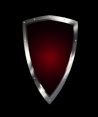 riveted: Ancient shield with riveted border on black background. Stock Photo
