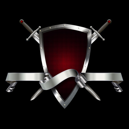 iron ribbon: Heraldic shield with silver ribbon and two swords on black background. Stock Photo