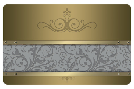 business abstract: Gold metal background with decorative patterns and screws for the design of your business card.