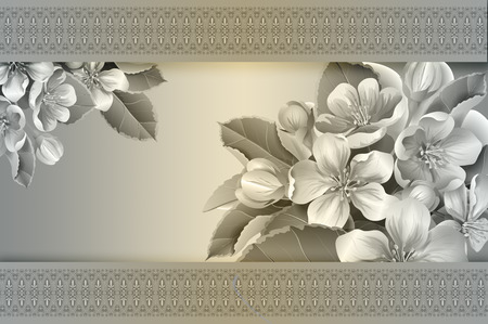 your text: Floral background with decorative border and copy space for your text. Stock Photo