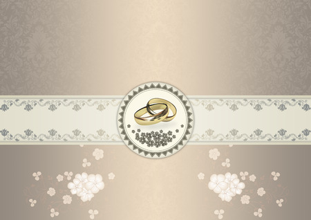 gold rings: Decorative background with floral patterns and frame with gold rings for the design of wedding invitation card. Stock Photo