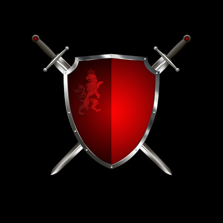 heraldic lion: Red ancient shield with two swords and heraldic lion on black background.