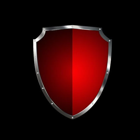 riveted: Red shield with silver riveted border on black background.