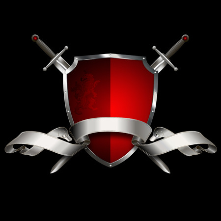 silver ribbon: Red ancient shield with two swords, silver ribbon and heraldic lion on black background. Stock Photo