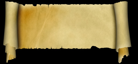 scroll border: Scroll of antique parchment with torn border on black background.