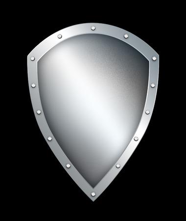 riveted: Medieval riveted shield on black background.