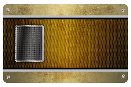 malla metalica: Plantilla de la tarjeta de visita con la malla de metal de edad, tornillos, placa de metal y borde cromado. Foto de archivo