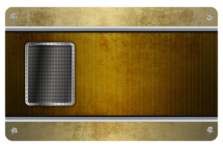 metal mesh: Template of business card with old metal mesh,screws,metal plate and chrome border. Stock Photo