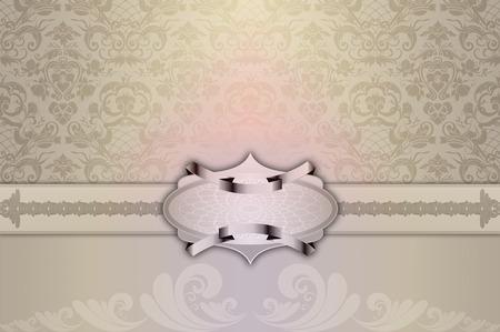 decorative frame: Vintage background with decorative frame and old-fashioned patterns. Vintage invitation card design. Stock Photo
