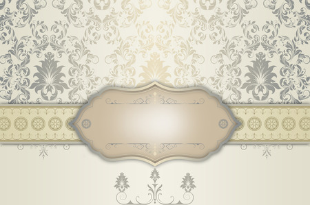 Vintage background with decorative frame and old-fashioned patterns. Vintage invitation card design. Stock Photo