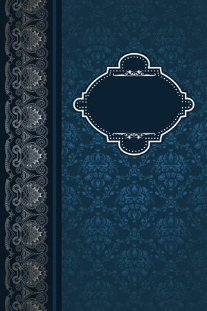 coverbook: Vintage background with decorative frame and old-fashioned patterns. Vintage invitation card design. Stock Photo