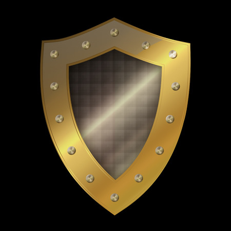 riveted: Medieval gold shield with riveted border on black background.