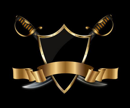 Medieval shield with two sabers and gold ribbon ob black background.