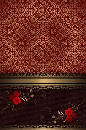 coverbook: Vintage background decorativo con ornamenti d'oro vecchio stile e dei fiori eleganti. Archivio Fotografico