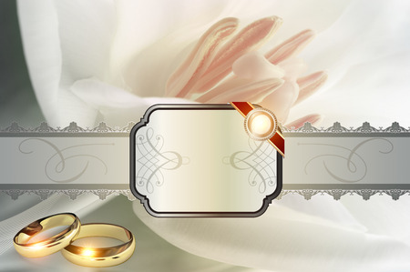 name day: Wedding background with decorative frame,elegant ornament and gold rings.