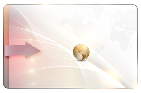 globe arrow: Futuristic background with world map,globe,arrow and abstract waves for the design of your business card.