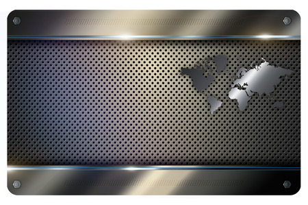 metal mesh: Abstract metal background with metal mesh and metal world map.
