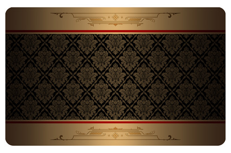 Decorative background with gold patterns for the design of business card.