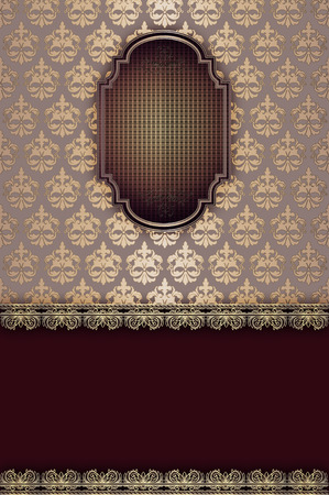 coverbook: Sfondo vintage decorativo con motivi eleganti e cornice per il design.