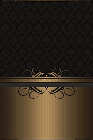 coverbook: Fondo oro Vintage con motivi decorativi. Archivio Fotografico