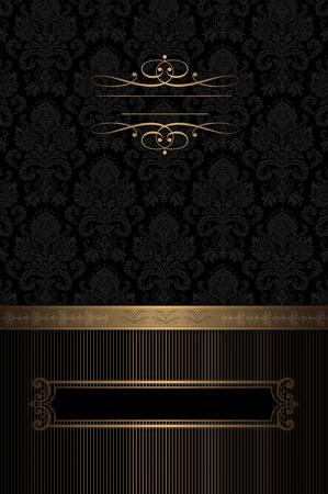 coverbook: Sfondo decorativo Vintage con motivi d'oro e cornice per il testo ..