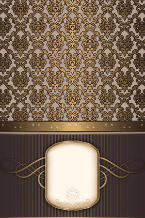 coverbook: Decorative vintage background with gold patterns and frame for the text. Stock Photo