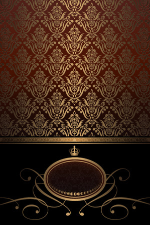 Vintage background with gold old-fashioned patterns and decorative frame.
