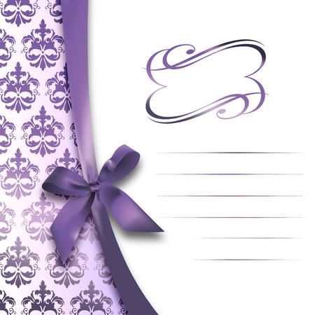 carte invitation: D�coratif fond floral avec un arc violet, motifs �l�gants et le cadre. Carte d'invitation.