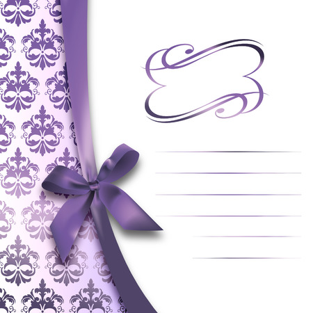 invitation frame: Decorative floral background with purple bow,elegant patterns and frame. Invitation card.
