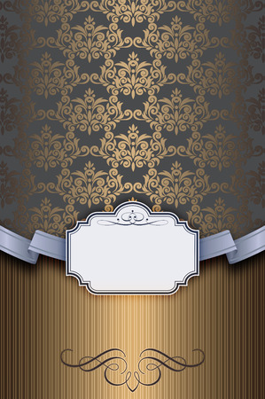 ribbin: Vintage background with old-fashioned ornament and decorative frame for the text.