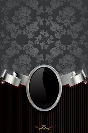 silver ribbon: Vintage background with silver ribbon,decorative floral patterns and frame.