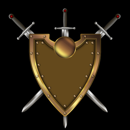 riveted: Gold riveted shield and three swords on black background.
