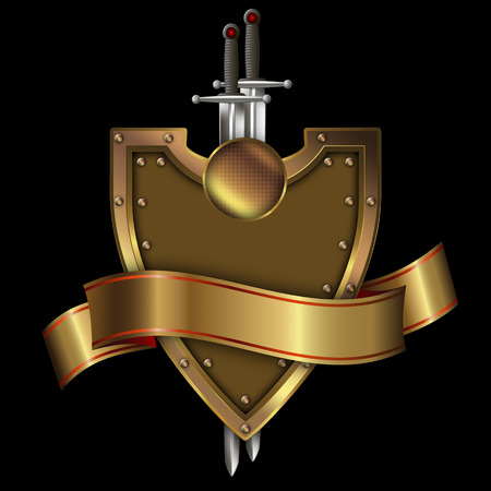 riveted: Gold riveted shield with gold ribbon and two swords on black background.