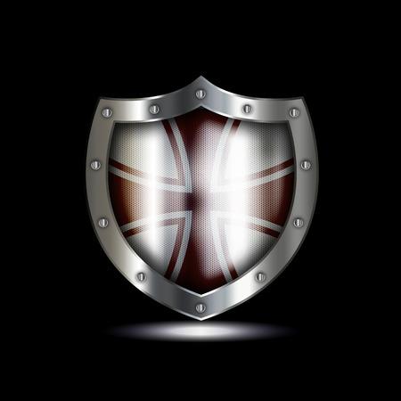 maltese: Silver heraldic shield with maltese cross on black background. Stock Photo