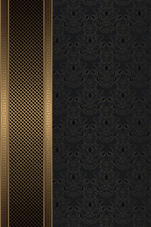 Vintage background with ornament and decorative golden mesh. Stock Photo