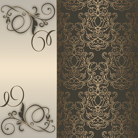 Decorative background with old-fashioned elegant patterns. Vintage invitation card. photo